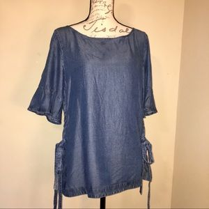 Ann Taylor Lyocell Denim Side Tie Smock Blouse